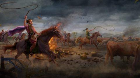 Satanás tenta Jó pela primeira vez (seu gado é roubado e a calamidade sobrevém a seus filhos)