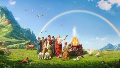 Deus faz o arco-íris como um símbolo de Sua aliança com o homem