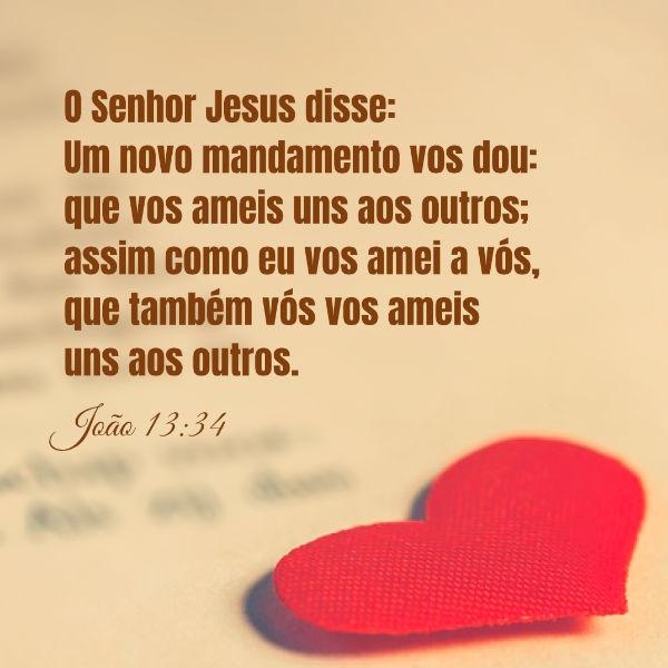 """(João 13:34) O Senhor Jesus disse:""""Um novo mandamento vos dou: que vos ameis uns aos outros; assim como eu vos amei a vós, que também vós vos ameis uns aos outros""""."""